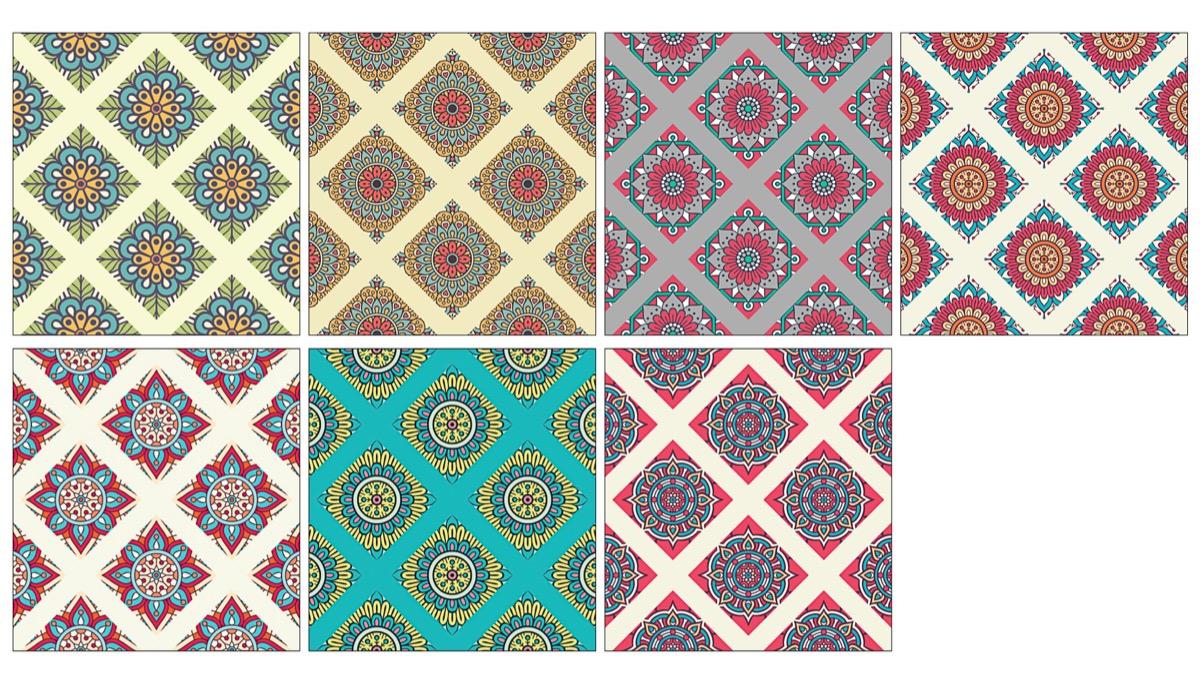 Mandala de lujo decorativo sin costura de patrones de tonos pastel