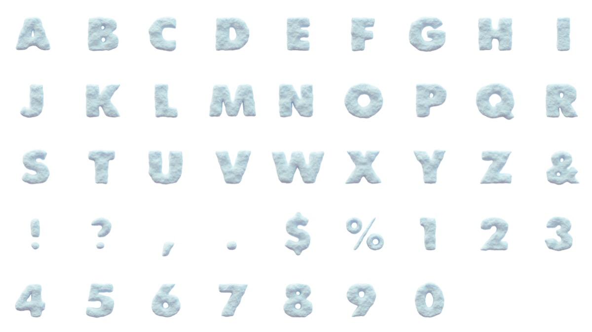 Letras y números de nieve indice